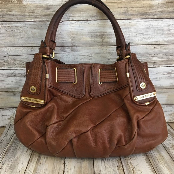 7c9080759c Juicy Couture Handbags - Juicy Couture Brown Genuine Leather Satchel Purse.